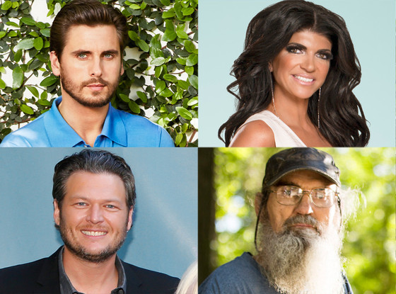 Blake Shelton, The Voice Scott Disick, KUWTK Teresa Giudice, Real Housewives of New Jersey< Si Robertson, Duck Dynasty