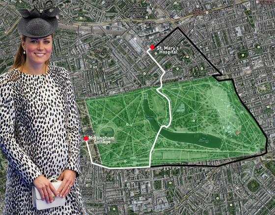Kate Middleton, Royal Baby, Route to Hospital