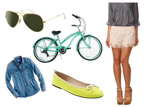 Bike Outfit Collage, Green