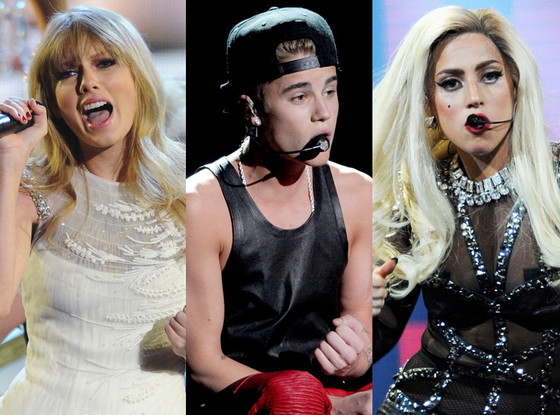 Taylor Swift, Justin Bieber, Lady Gaga