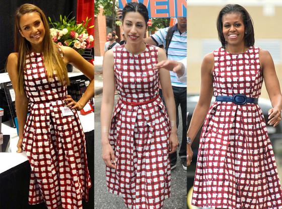 Jessica Alba, Huma Abedin, Michelle Obama, ASOS Skater Check Dress