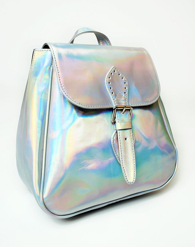 Metallic, Silver Backpack