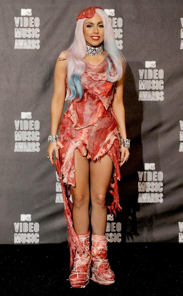 Lady Gaga, 2010 MTV Video Music Awards, Meat Dress, Worst Dressed