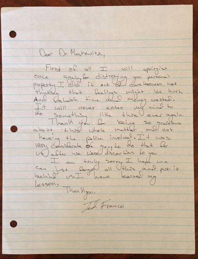 James Franco, Apology Letter