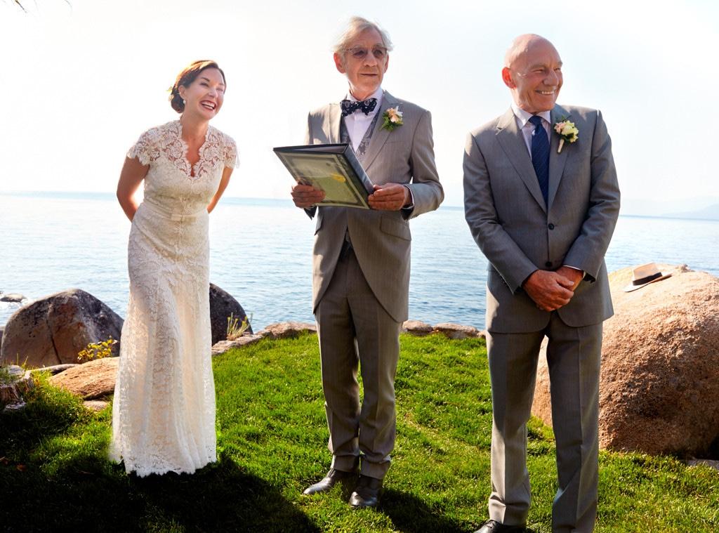 Sir Patrick Stewart, Sunny Ozell, Sir Ian McKellan, Wedding