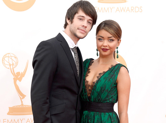 Sarah Hyland posing on Emmy Awards red carpet with her then-boyfriend, Matthew Prokop