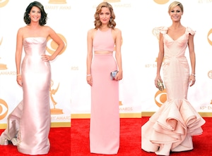 Cobie Smulders, Rose Byrne, Julie Bowen, Pink Dresses, Emmy Awards, 2013