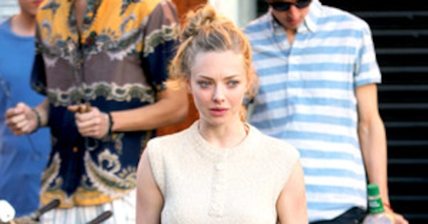 Amanda Seyfried Walks Around Film Set In Orange Underwear  E News-6053