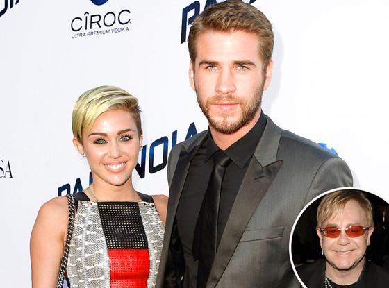 Miley Cyrus, Liam Hemsworth, Elton John