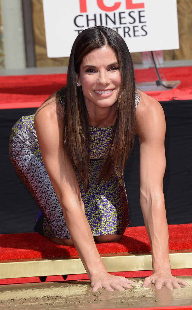 Sandra Bullock Brings Son Louis to Handprint and Footprint