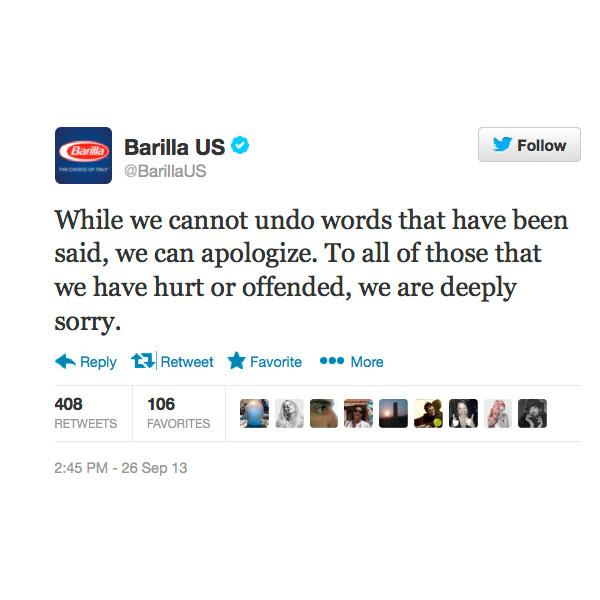 Barilla Tweet