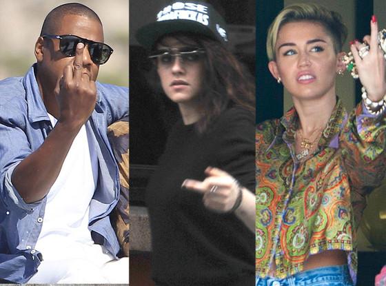 Jay-Z, Kristen Stewart, Miley Cyrus, Middle Finger