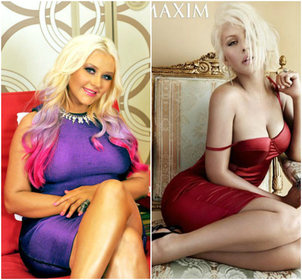 Christina Aguilera, antes e depois