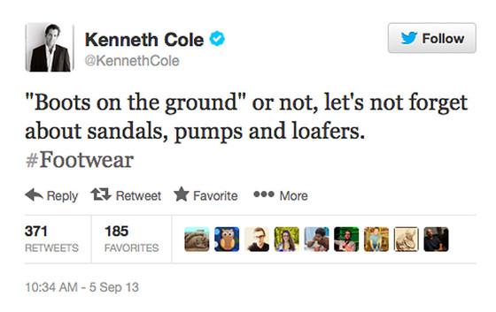 Kenneth Cole, Tweet