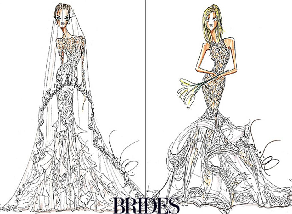 Angelina Jolie, Jennifer Aniston, Wedding Dress Sketch, Theia