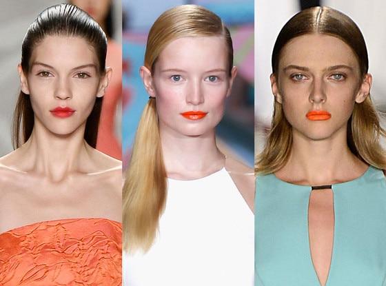 BRIGHT TANGERINE LIPS, Persimmon Trend, New York Fashion Week