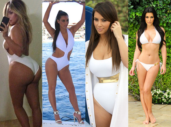 30ef0e9d24 Kim Kardashian's White Bathing Suits: Which Look Is Your Favorite ...