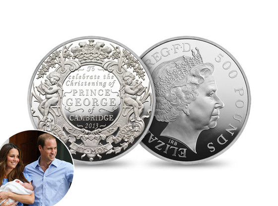 Christening Coin, Prince George, Kate Middleton, Catherine, Duchess of Cambridge, Prince William