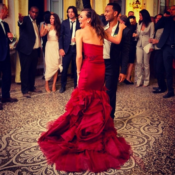 Chrissy Teigen Shows Off Red Wedding Dress