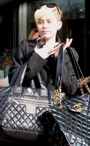 6ba88856729a Miley Cyrus Is a Chic Chanel Bag Lady With New Hair—See the Pic! | E ...