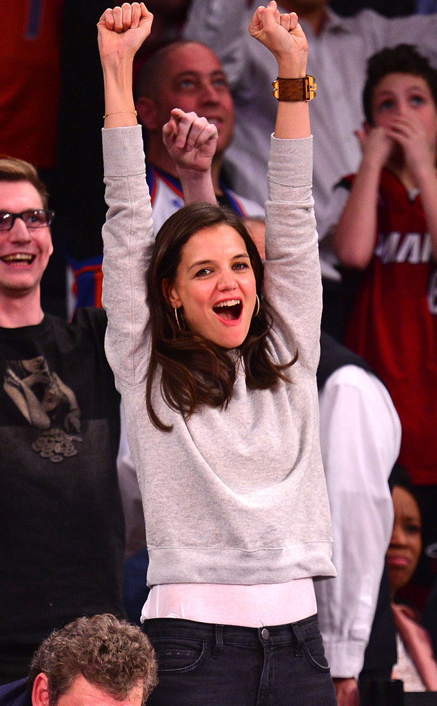 Katie Holmes Catches A Basketball During New York Knicks