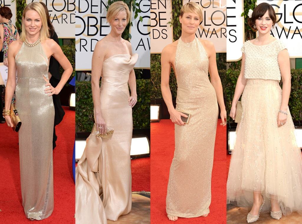 Metallics, Naomi Watts, Anna Gunn, Robin Wright, Zooey Deschanel, Golden Globes