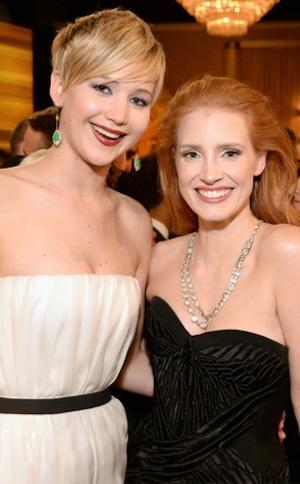 Jennifer Lawrence, Jessica Chastain, Golden Globes 2014