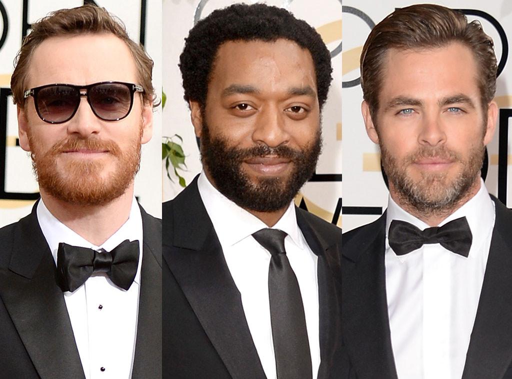 Michael Fassbender, Chiwetel Ejiofor, Chris Pine, Golden Globe Awards, Bearded Hairy Guys