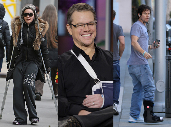 Madonna, Matt Damon, Mark Wahlberg, Injury