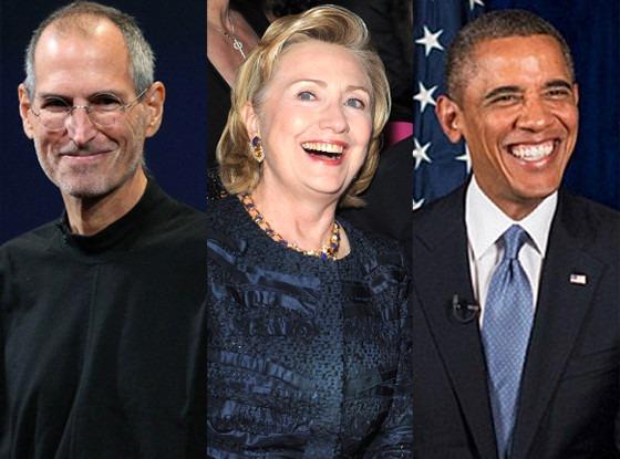 Steve Jobs, Hillary Clinton, Barack Obama