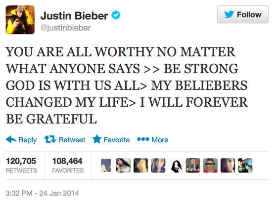 Justin Bieber, Tweet