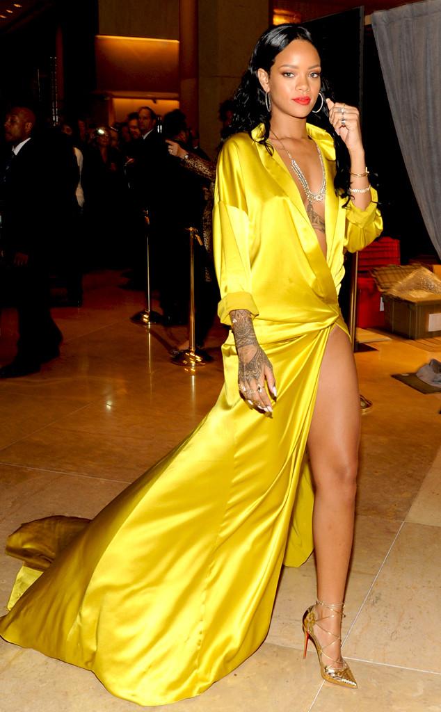 Rihanna Wows in Revealing Yellow Silk Robe, Tempts Wardrobe ...