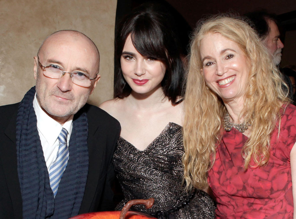 Phil Collins, Lily Collins, Jill Tavelman, Celeb Parents