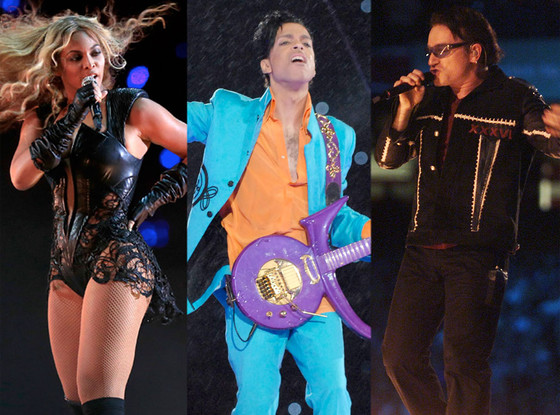 Super Bowl Performances, Beyonce, Prince, U2