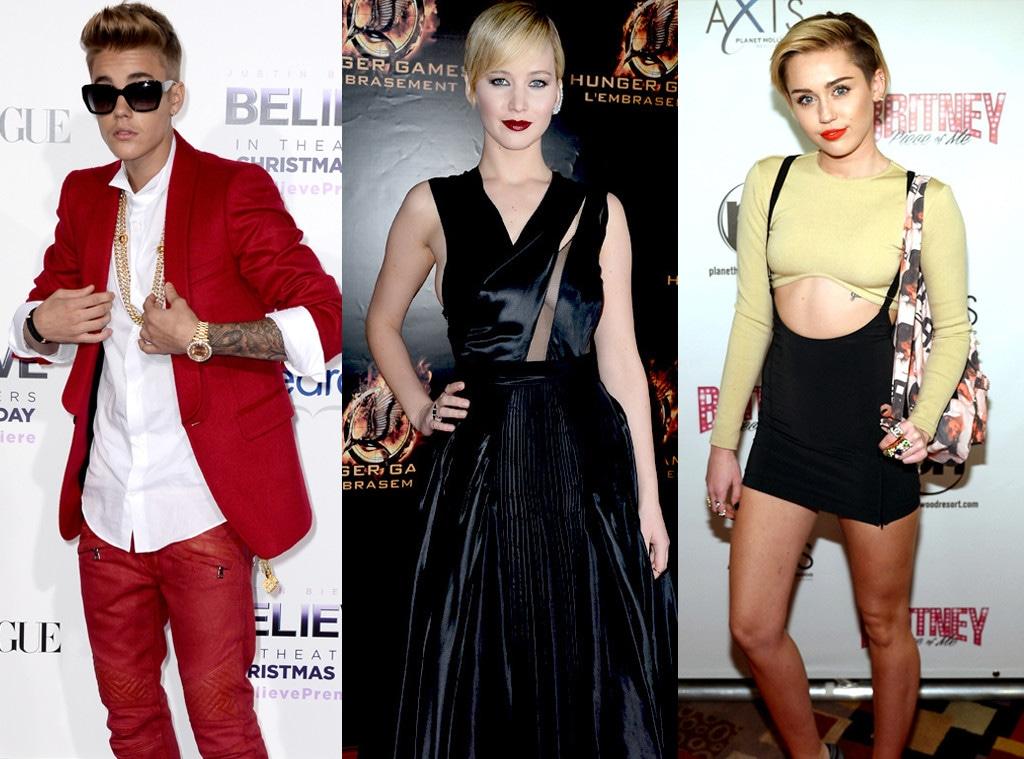 Justin Bieber, Jennifer Lawrence, Miley Cyrus