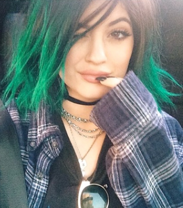 Lady in Green -  Kylie's color slightly shifts from teal to green in this Instagram snapshot.