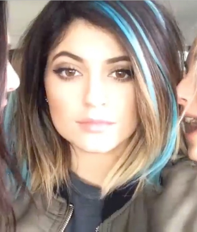 Just a Hair -  Before she went for the blue ombré, Kylie experimented with playful teal streaks.