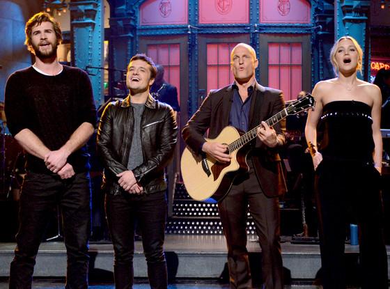 Liam Hemsworth, Josh Hutcherson, Woody Harrelson, Jennifer Lawrence
