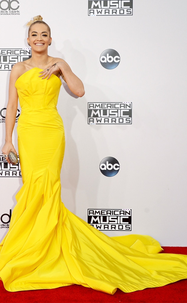 Rita Ora -  Rita served as the (literal) bright spot of the evening in a highlighter Zac Posen gown at the 2014 awards.