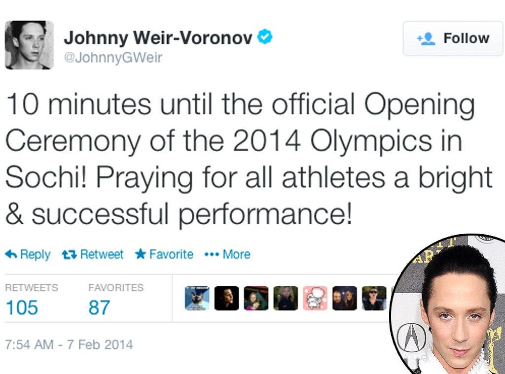 Johnny Weir, Twitter, Olympic Tweets
