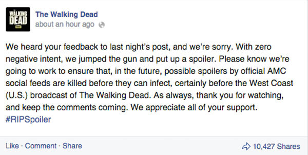 Walking Dead, Spoiler apology