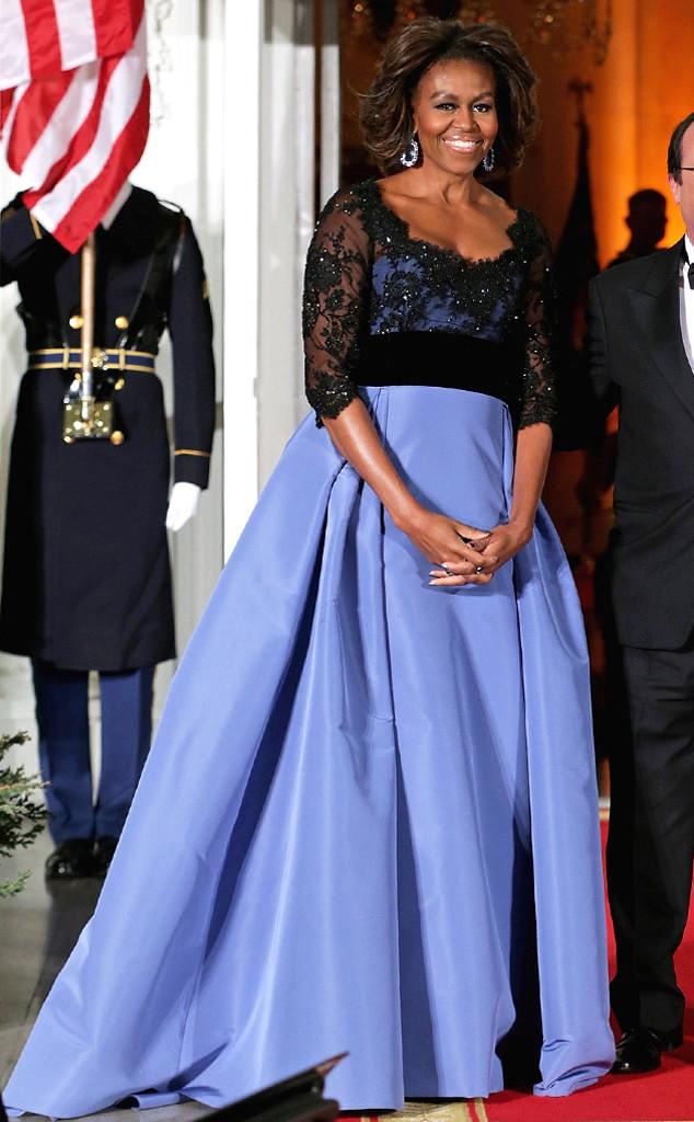 Michelle Obama Dazzles In Custom Carolina Herrera Gown At