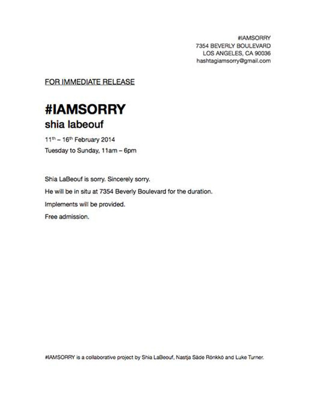 Shia LaBeouf, #IAMSORRY invite