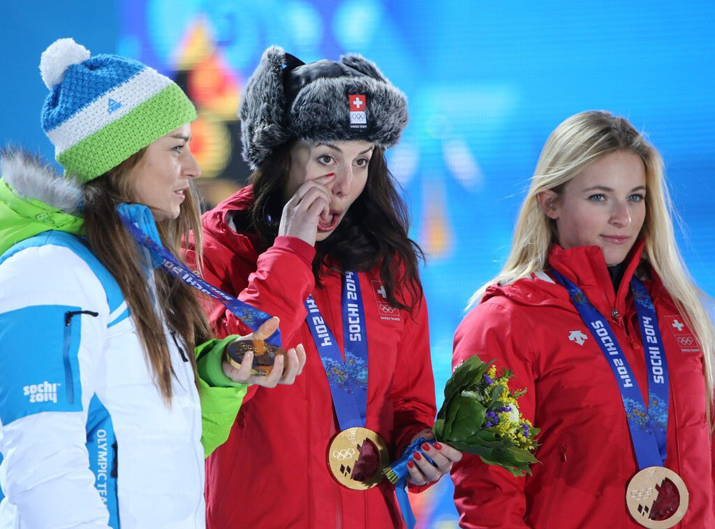 Crying Olympians, Tina Maze, Dominique Gisin, Lara Gut