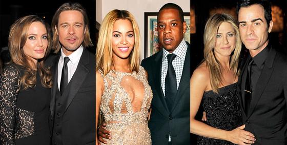 Hottest Couples, Angelina Jolie, Brad Pitt, Beyonce, Jay Z, Jennifer Aniston, Justin Theroux
