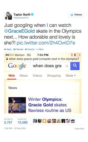 Taylor Swift, Olympics, Twitter