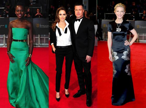 Angelina Jolie and Brad Pitt, Cate Blanchett, Lupita Nyong'o, BAFTA Film Awards 2014