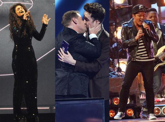 Lorde, Nick Grimshaw, James Corden, Bruno Mars Brit Awards