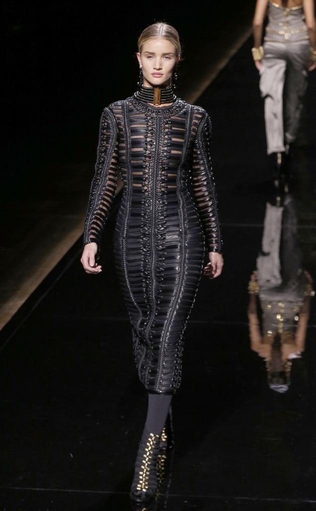 Rosie Huntington-Whiteley, Balmain, Paris Fashion Week