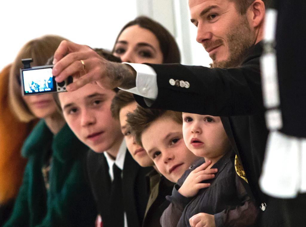David Beckham, Harper, Brooklyn, Romeo and Cruz, NYFW
